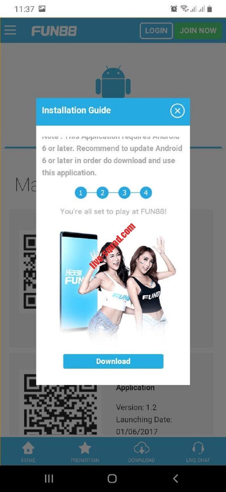 Fun88 Android - buoc 2